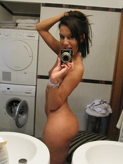Nude selfie in the washing room