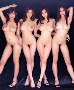 Four sexy nude Asian babes