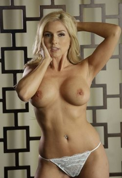 Blonde show boobs in lingeries white