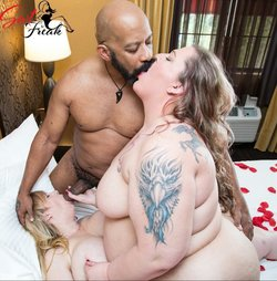 Tattooed SSBBW pornstars interracial threesome