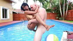 Brittney White fucked standing outdoors