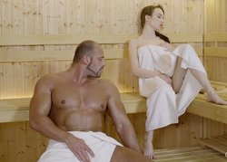 Angel Rush and big muscle guy Matt in the sauna
