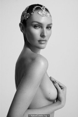 Candice Swanepoel topless cover her tits