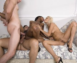Jasmine and Jasmine Rouge interracial DP foursome
