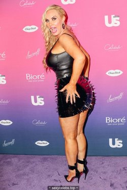Nicole Coco Austin sexy in leather mini dress
