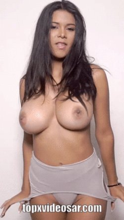 Brunette with natural breasts