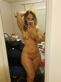 Naked blonde wife shows off her perfect body for the camera