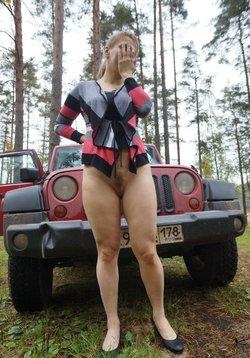 Old lady from Russia showcases her tight pussy on the forest floor