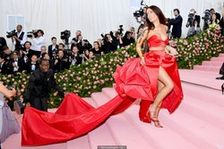 Halsey sexy in red dress at 2019 Met Gala in NY