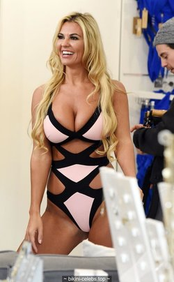 Christine McGuinness sexy cleavage in pink monokini