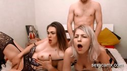 Slutty chick getting fucked while her curvy friend bates