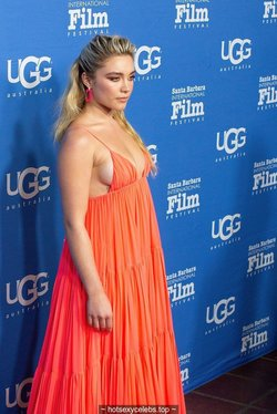Florence Pugh sideboob in coral dress